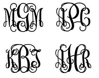 12 Vine Script Monogram Initial