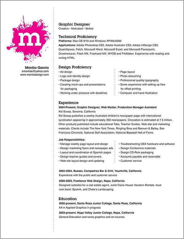 graphic designer resume examples - Jasonkellyphoto.co