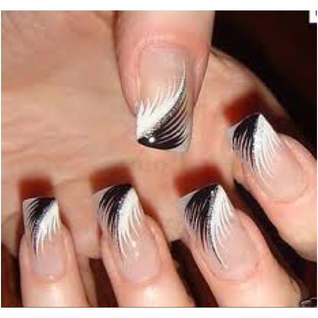 12 White Nails With Feather Design Images