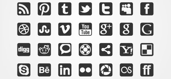 13 Black And White Social Icons Images