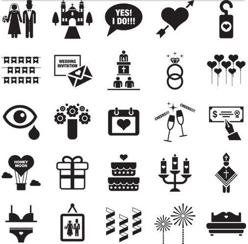 Black and White Wedding Icons