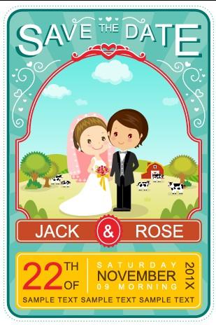Cartoon Style Wedding Invitations