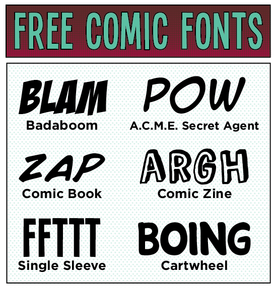 13 Typical Comic Book Font Images