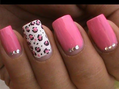 Cute Pink Nail Design with Rhinestones