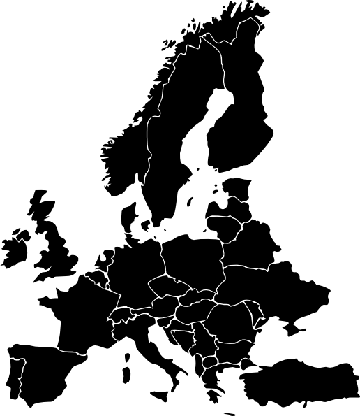 Europe Map Black and White Clip Art