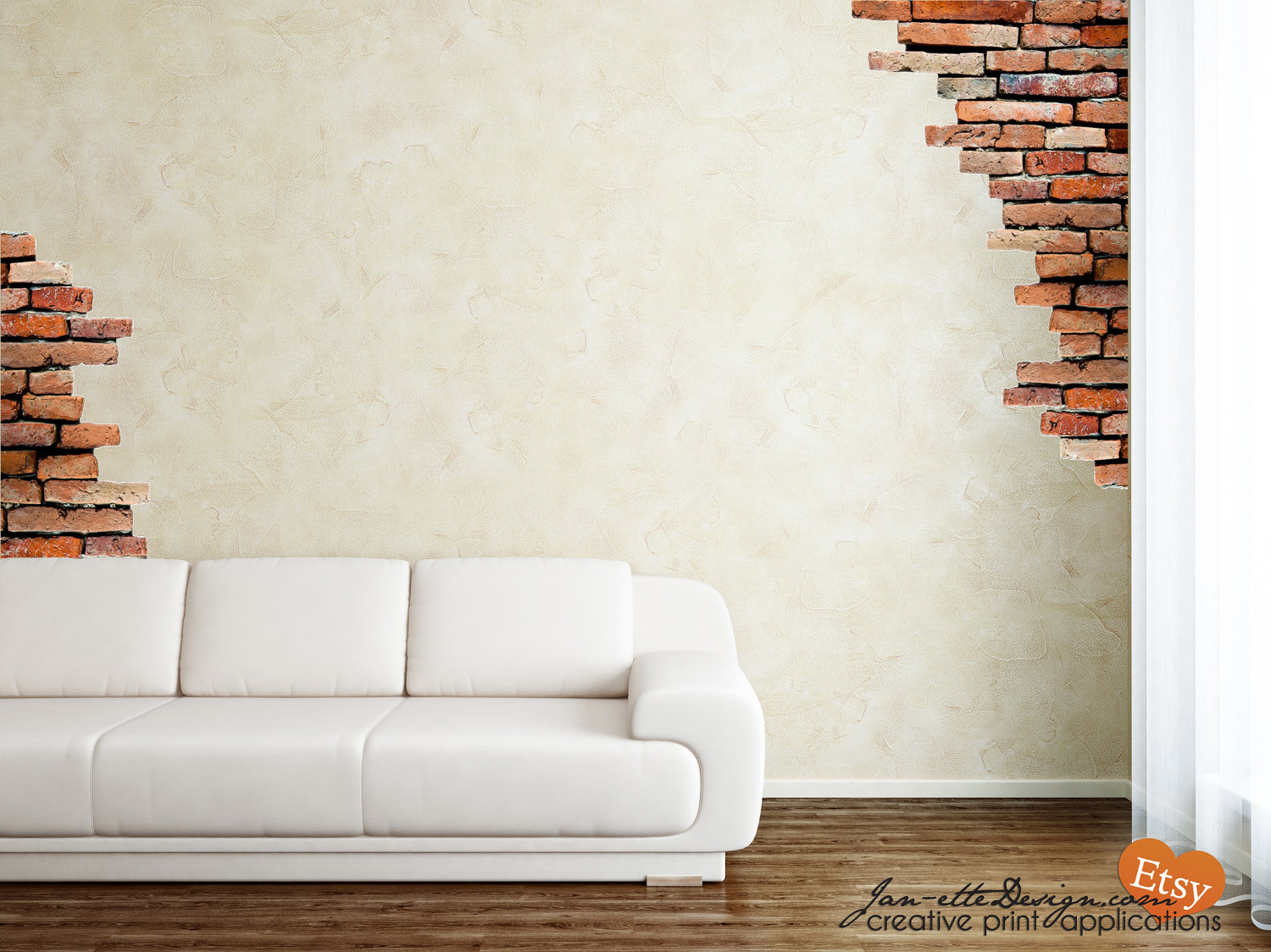 Faux Brick Wall Decal