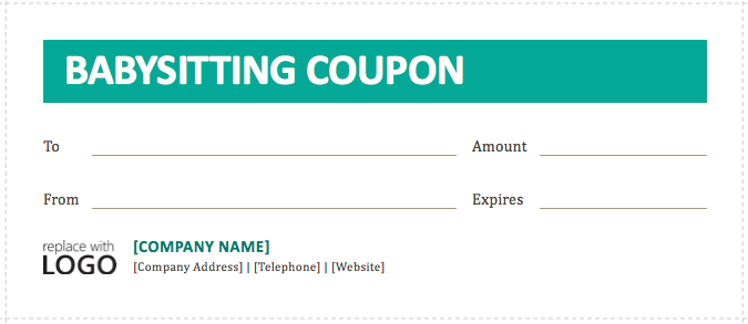 Babysitting coupon template for Create a coupon template free