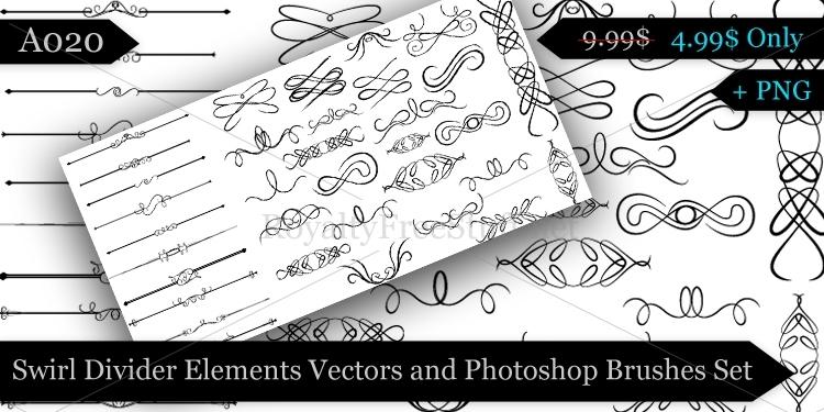Free Vector Swirls Brushes Photoshop