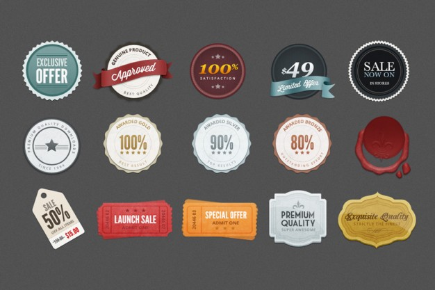 7 Month Badges PSD Images