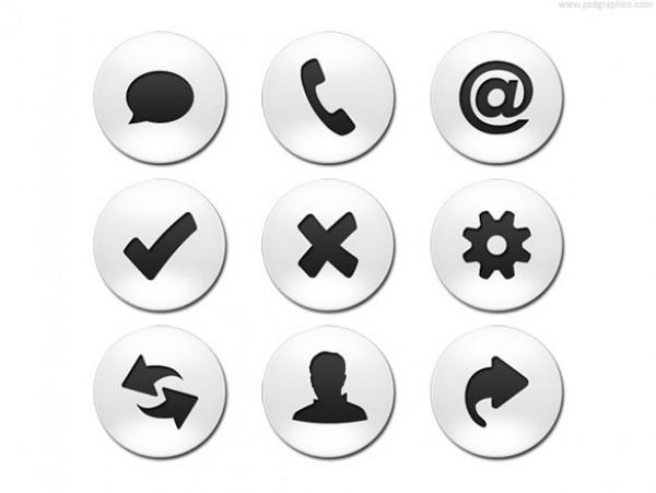 Free White Website Icons Round