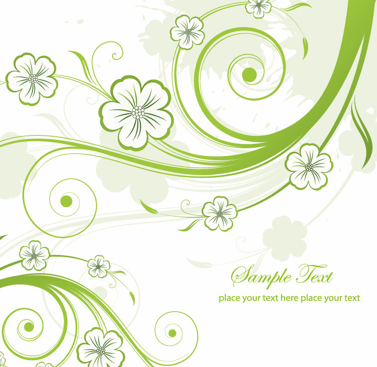 18 Green Floral Swirl Vector Art Images