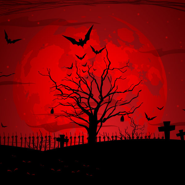 12 Vector Halloween Scene Images