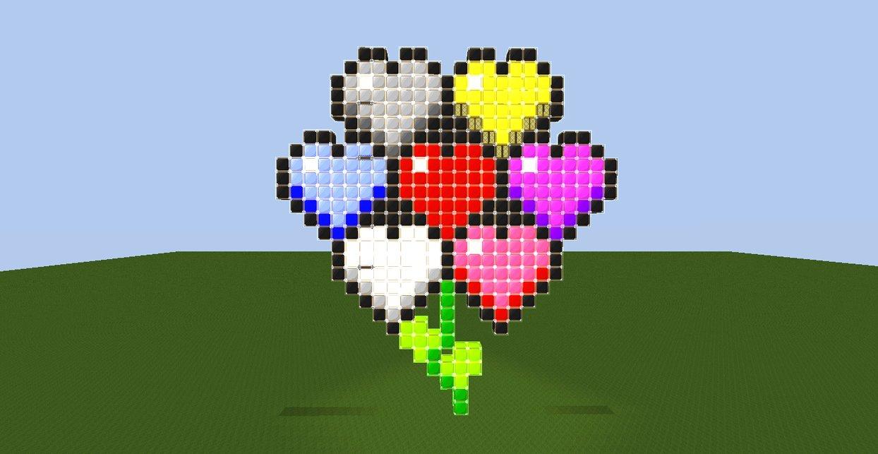 Minecraft Pixel Art Heart Flower