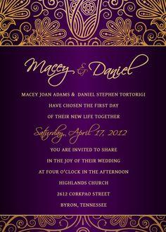 Purple and Gold Wedding Invitation