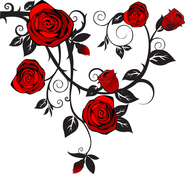 13 Rose Vine Vector Images