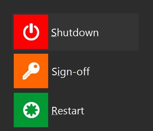 Shut Down Restart Windows 8 Start Icons