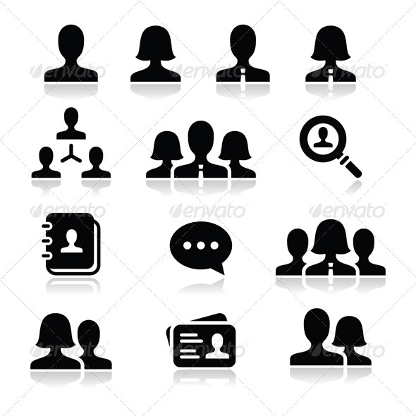 18 Black People Icons Vector Images