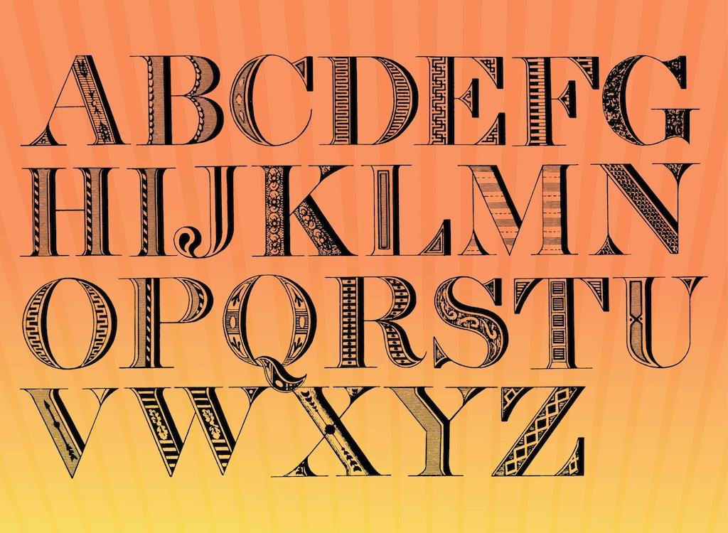 Vintage Font Alphabet Letters