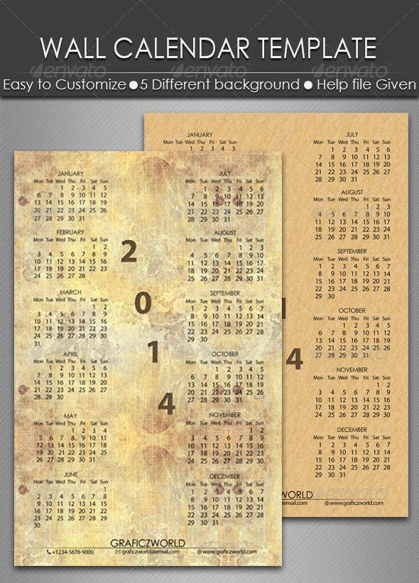 2014 Calendar Indesign Templates