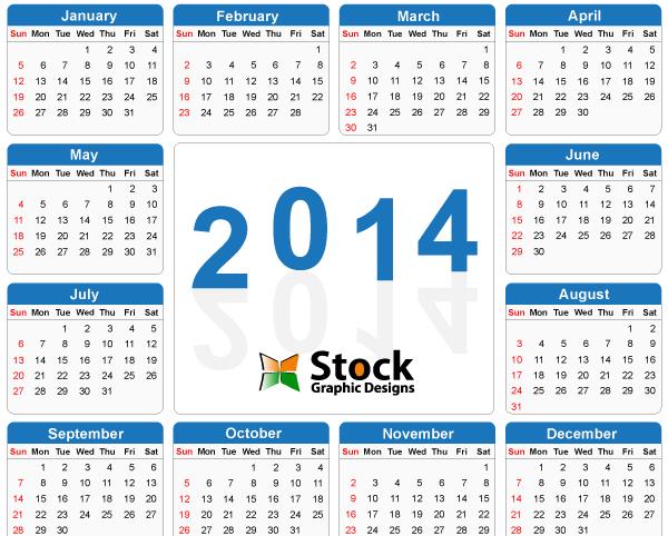 2014 Calendar Printable Free PDF