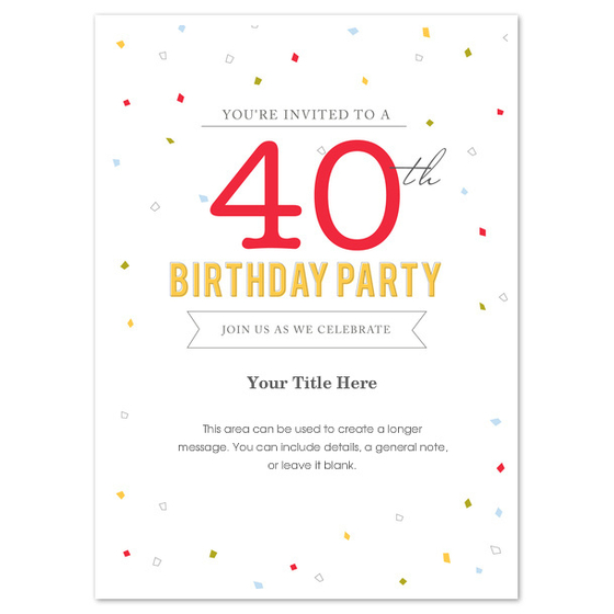 Free 40Th Birthday Invitation Templates For Word - Wedding
