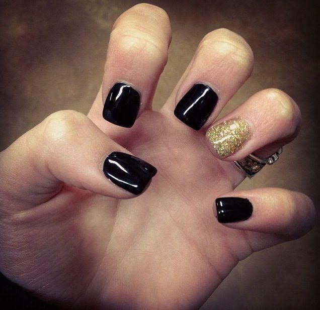 Black Acrylic Nails Gel