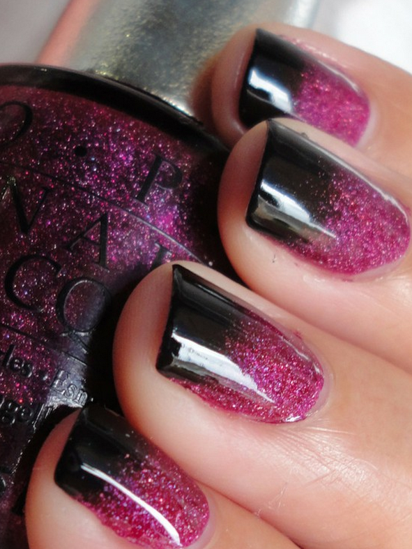 Black & Pink Nails