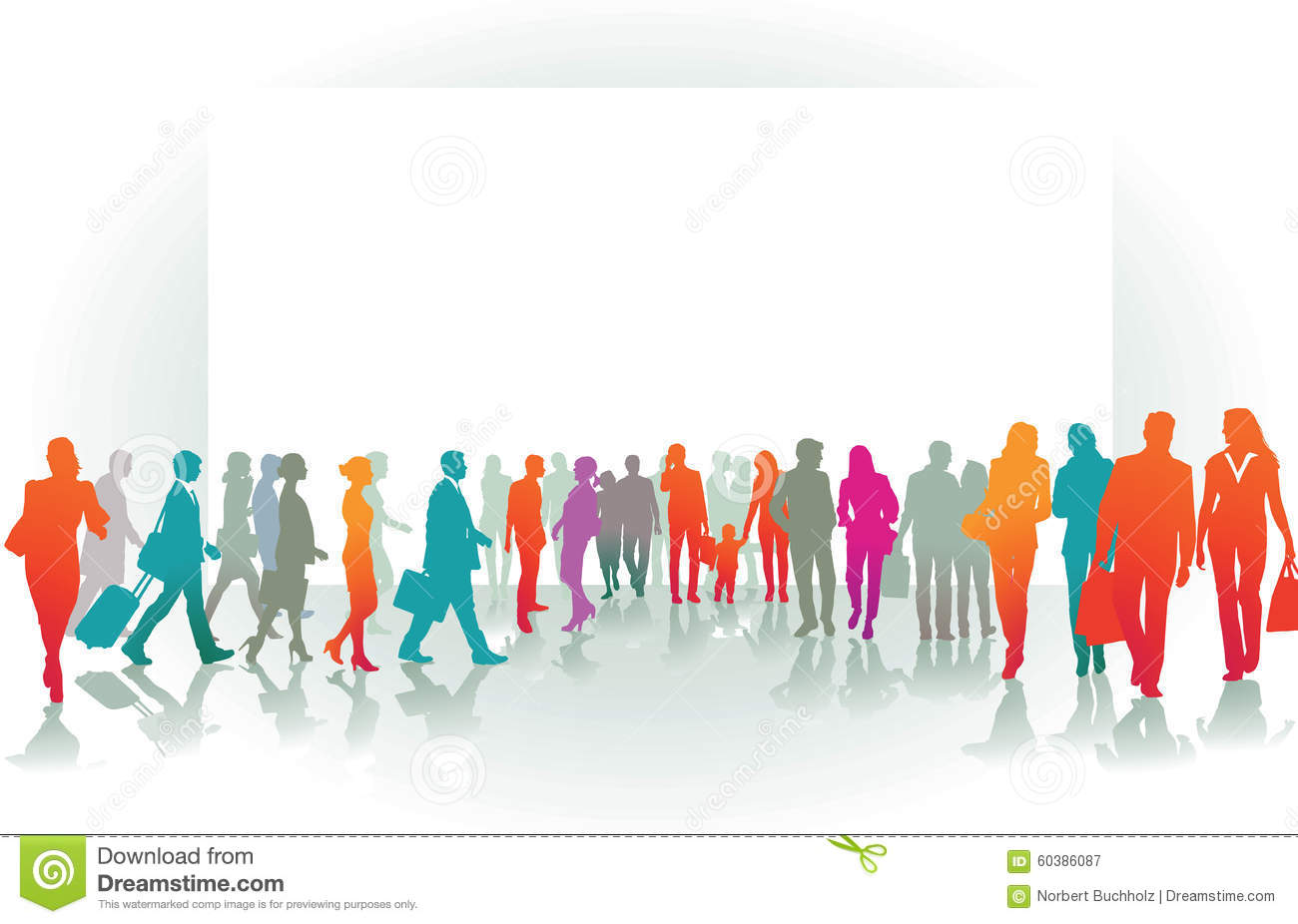 Colorful Silhouettes of People Walking