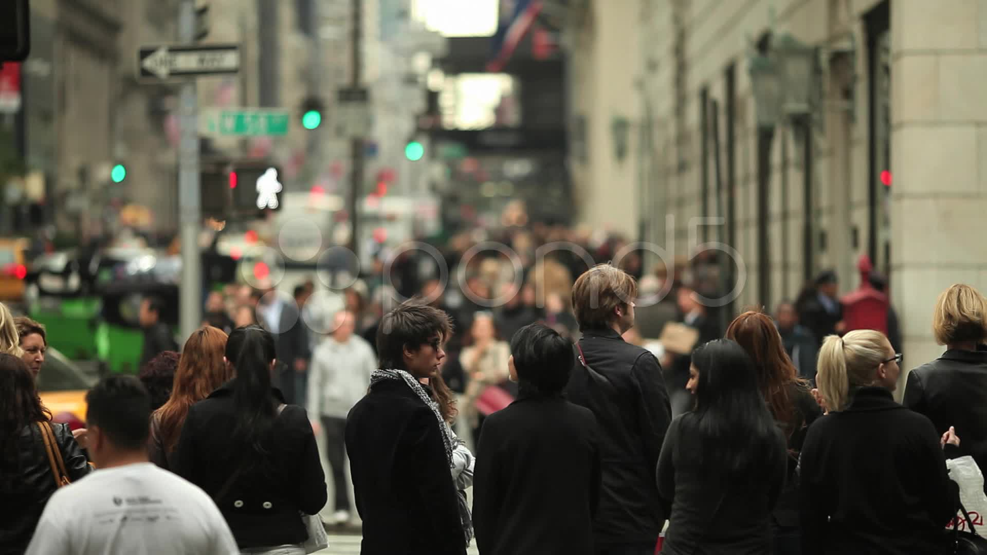 Crowd of People Walking in New York City