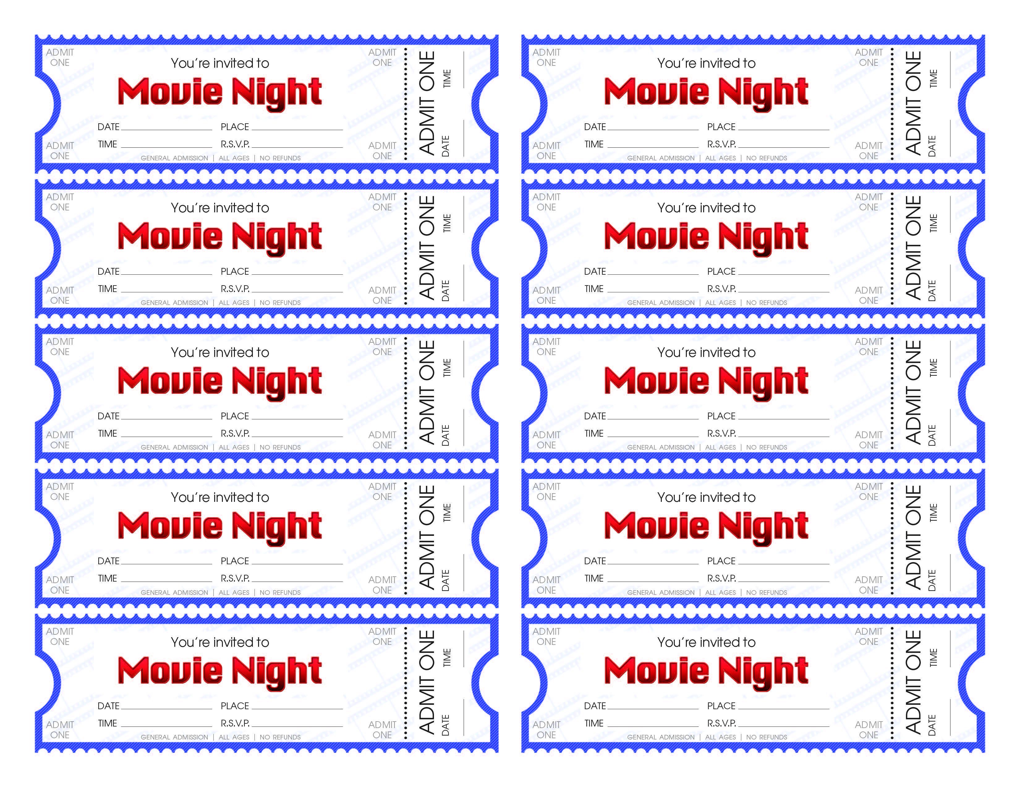 Free Printable Movie Ticket Templates