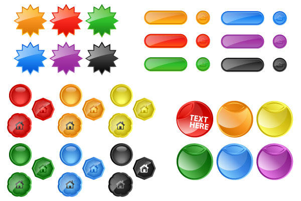 7 Glossy Vector Buttons Free Images