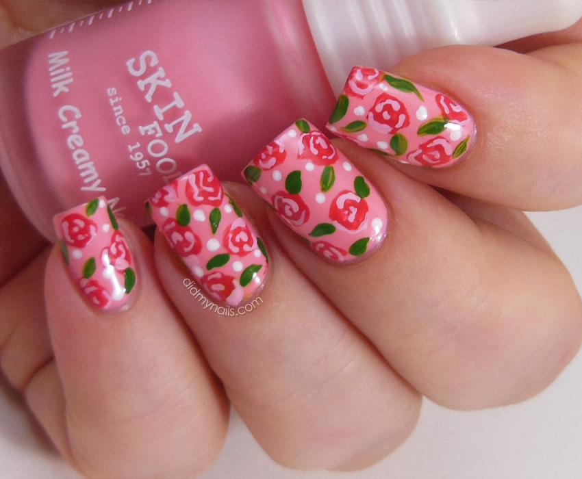 Gel Nail Flower Design