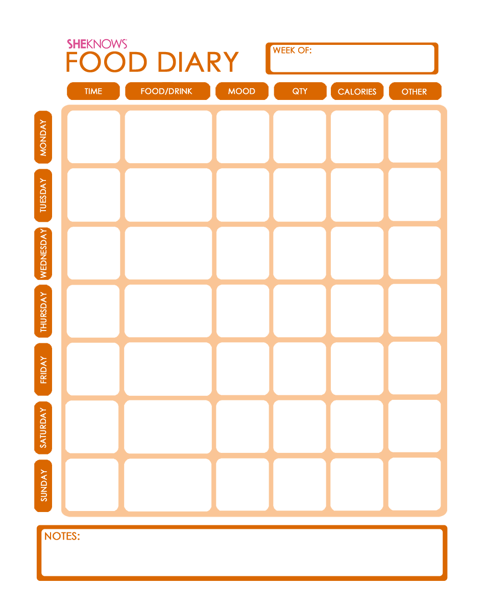 10 Free Printable Food Diary Template Images