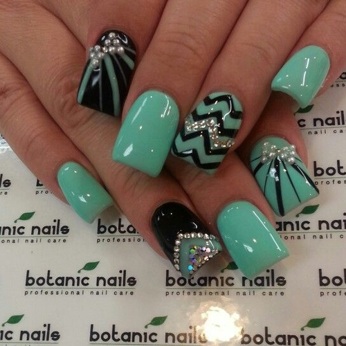 Mint Green and Black Nail Designs