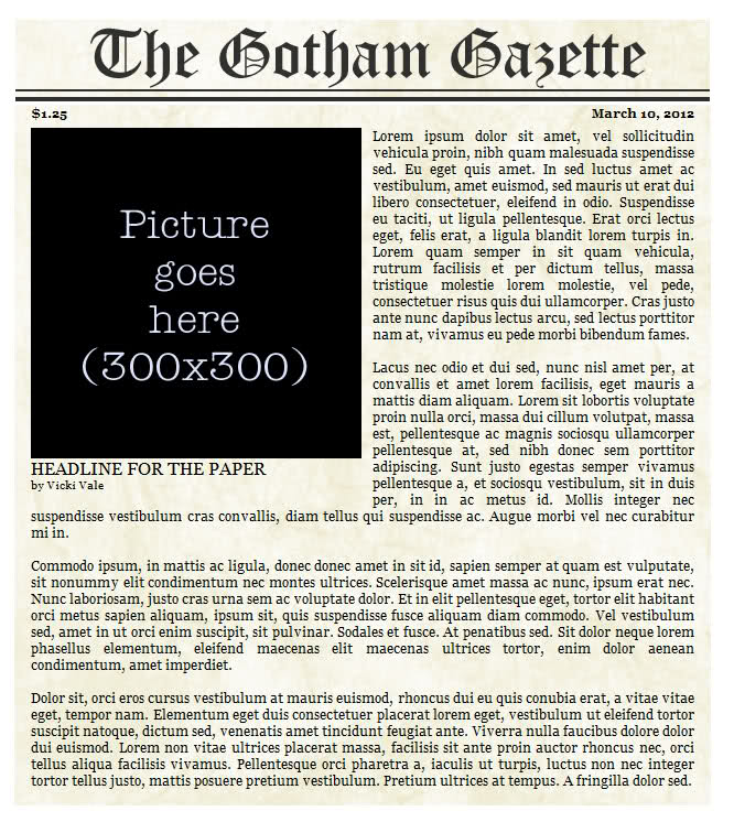 Newspaper Headline Template Zesloka