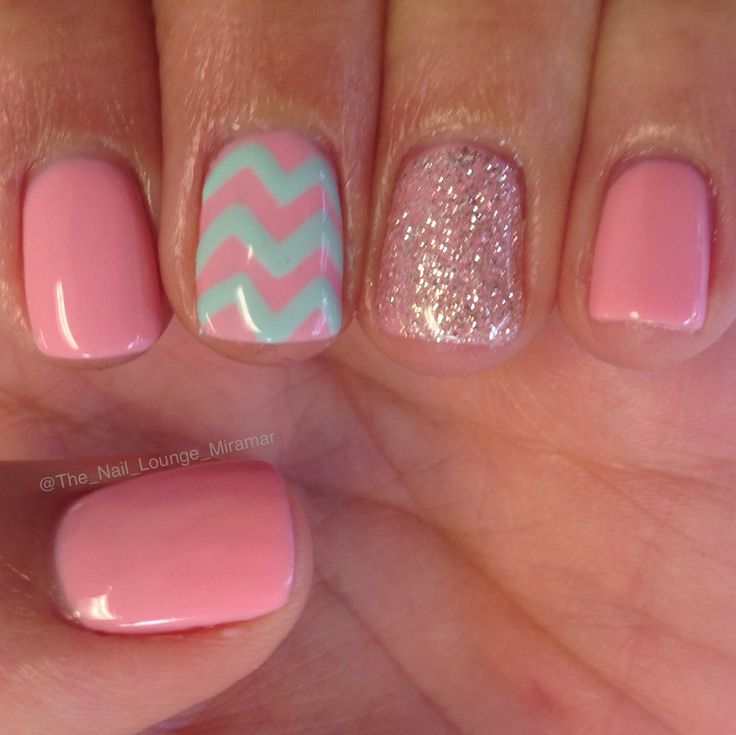 Pink Mint Chevron Nail Designs