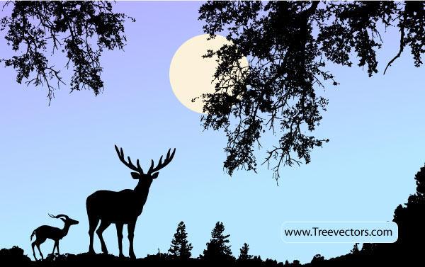 12 Vector Art Wildlife Scene Images