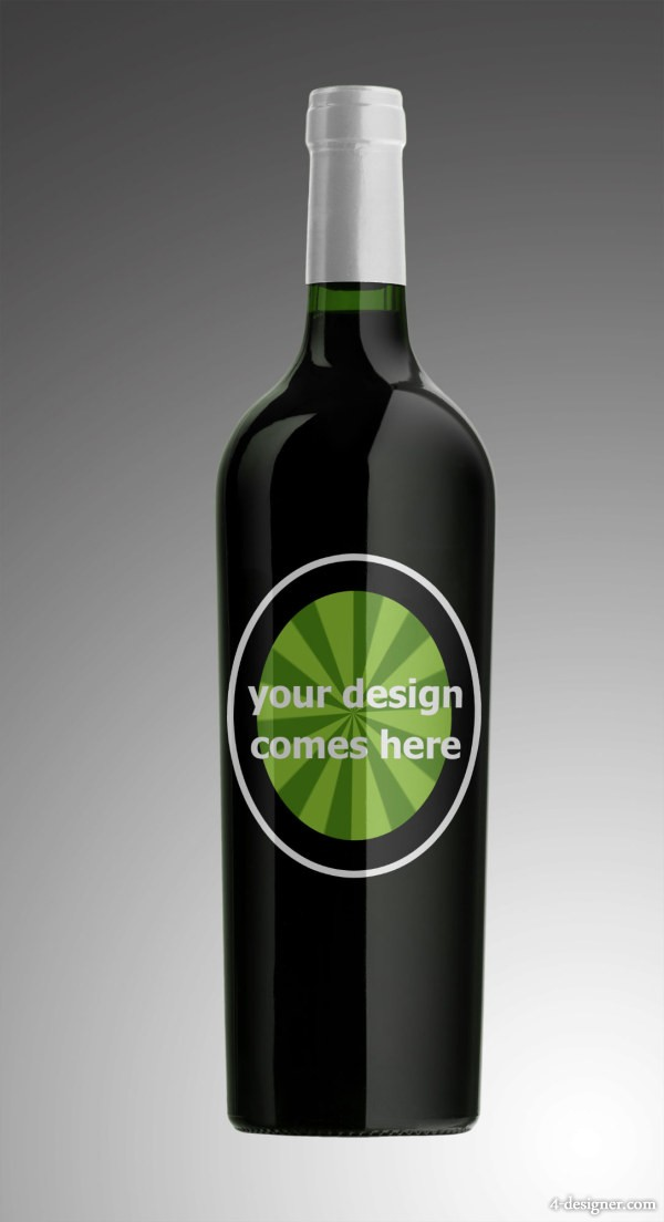 Wine Bottle Template PSD