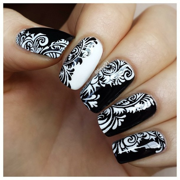 Black and White Nails Pinterest