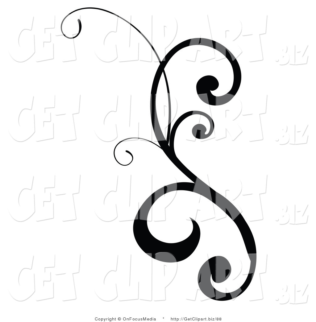 Black and White Scroll Design Clip Art