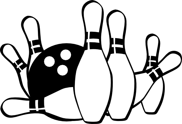 Bowling Strike Clip Art Black and White