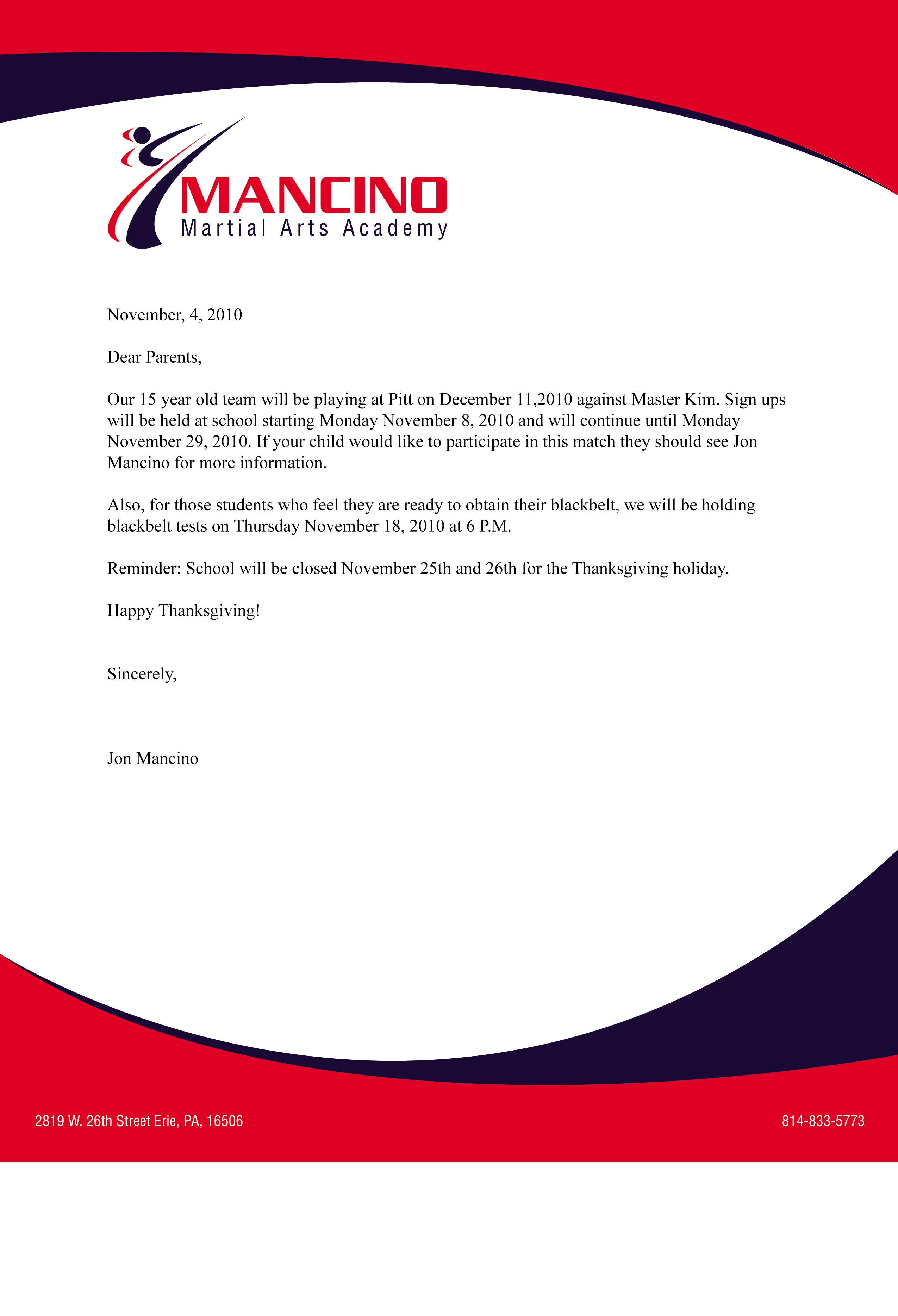 Business Letter On Company Letter Head