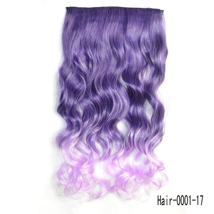 Color Purple Clip in Hair Extensions