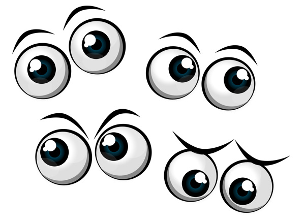 13 Cute Cartoon Eyes PSD Images