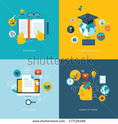 Flat Design Icons Education