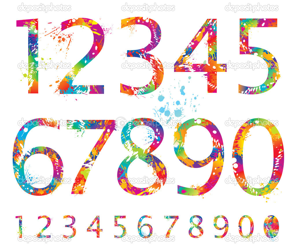 12 18 Number Colorful Fonts Images