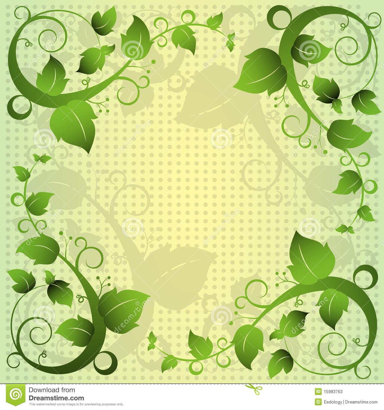 Green Abstract Swirls Border
