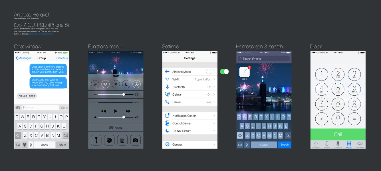 9 IOS 7 PSD Images