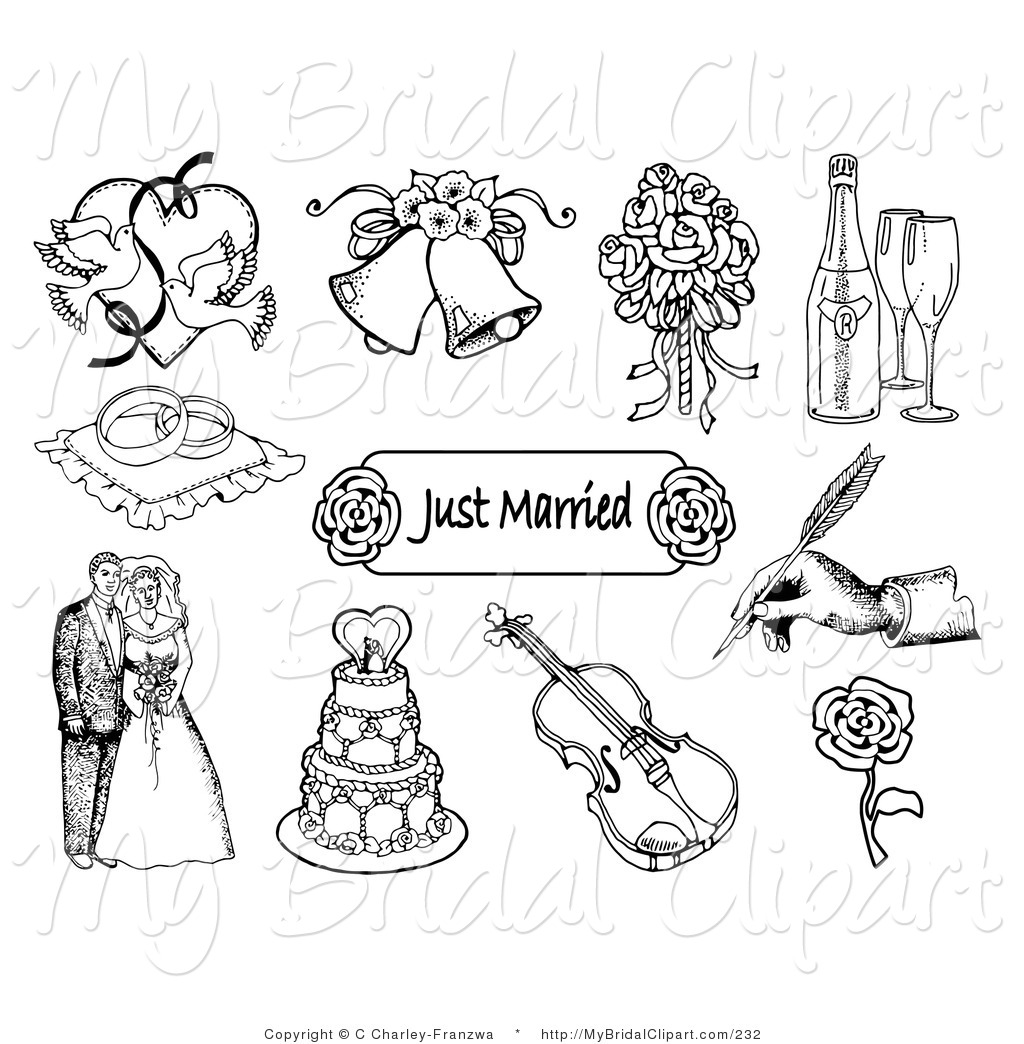 9 Black And White Wedding Icons Images