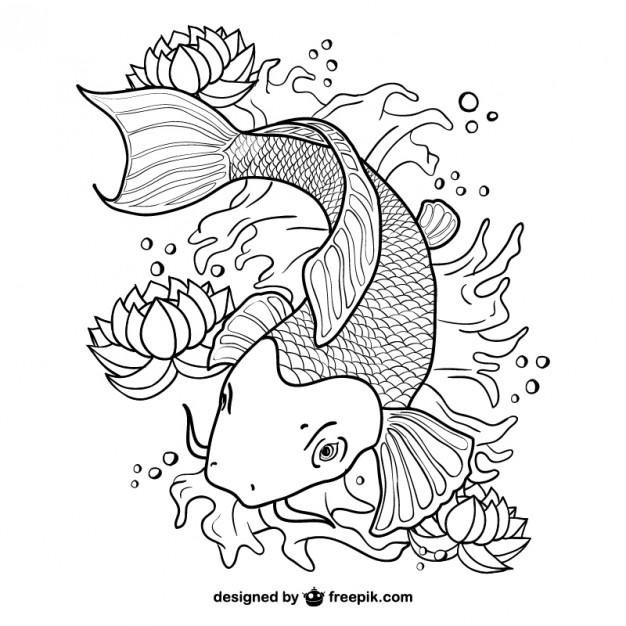 Koi Fish Line Art